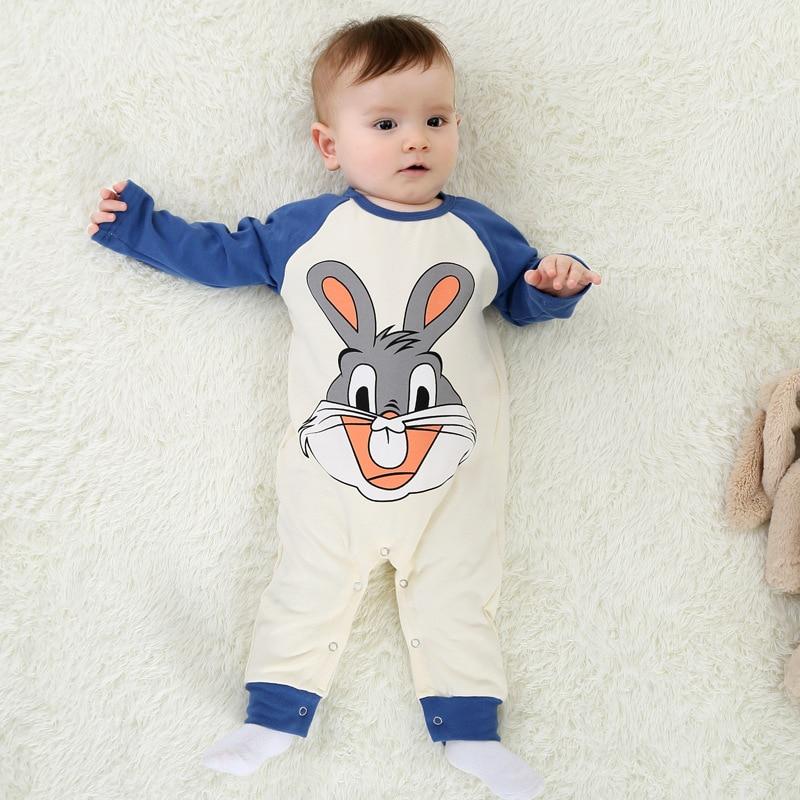 Baby Rompers 2017 Boys Sleepwear Girls Newborn Clothes Cartoon Rabbit Jumpsuit Pajamas Warm Cute Animal Macacao W62