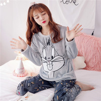 Autumn and Winter Women Pyjamas Sets Thick Warm Coral Velvet Suit Flannel Long Sleeve Female Cartoon Rabbit Pants Sleepwear