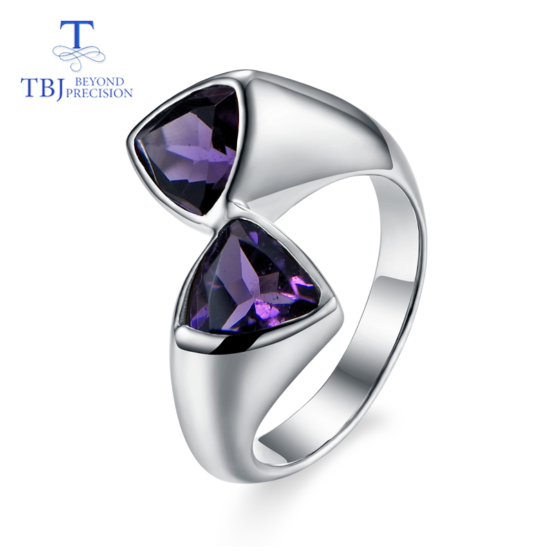 TBJ Classic simple style natural amethyst triangle gemstone Ring 925 sterling silver fine jewelry for women