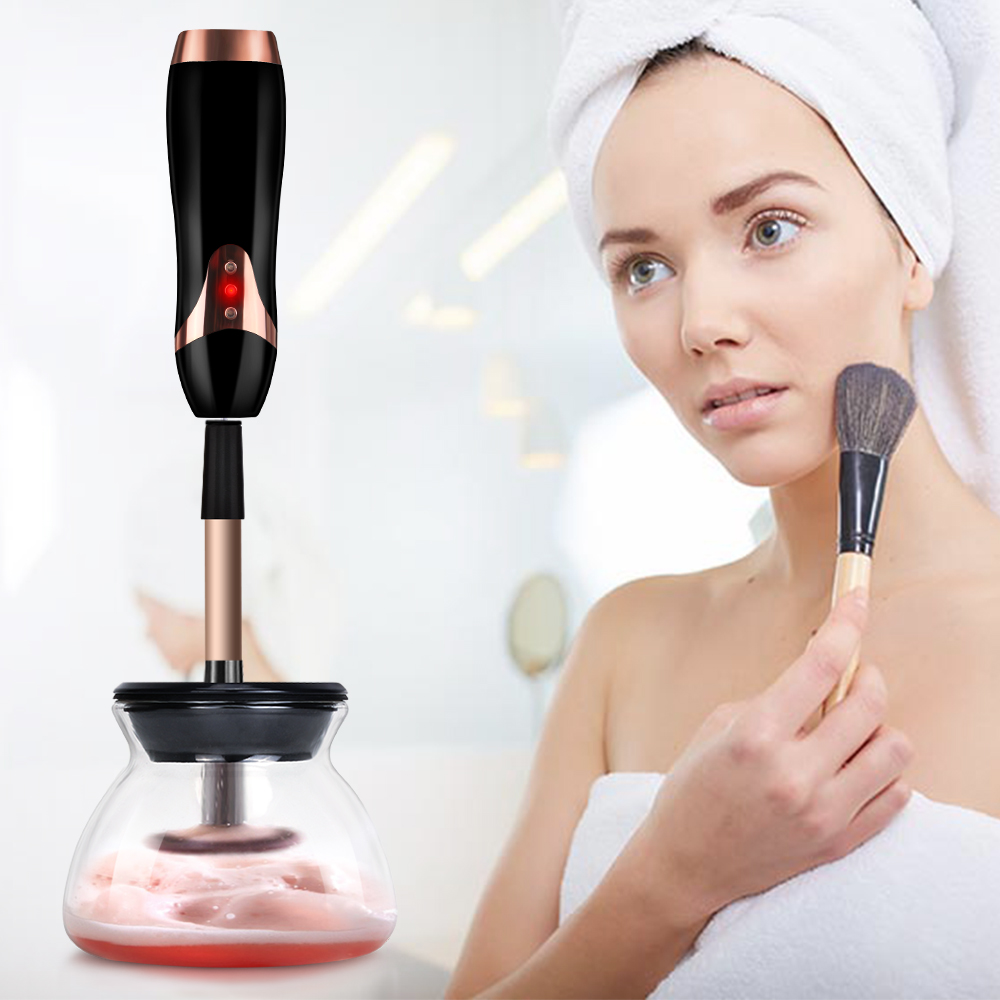 Makeup Brush Electric Cleaner Convenient Silicone Makeup Brushes Washing automatic cleaning tool Machine USB Charging hot pink apple shaped makeup brush cleaner
