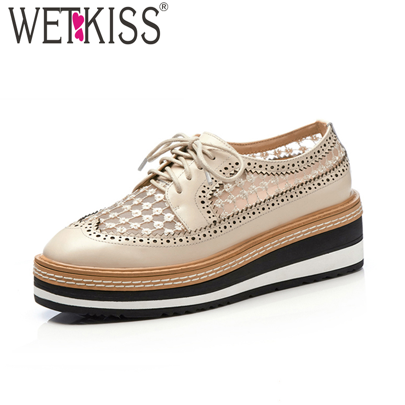 WETKISS Fashion Casual Flats Women Square Toe Mesh Wedges Shoelaces Cow Leather Footwear Summer Platform Sneaker Shoes Ladies new 2017 spring summer women shoes pointed toe high quality brand fashion womens flats ladies plus size 41 sweet flock t179