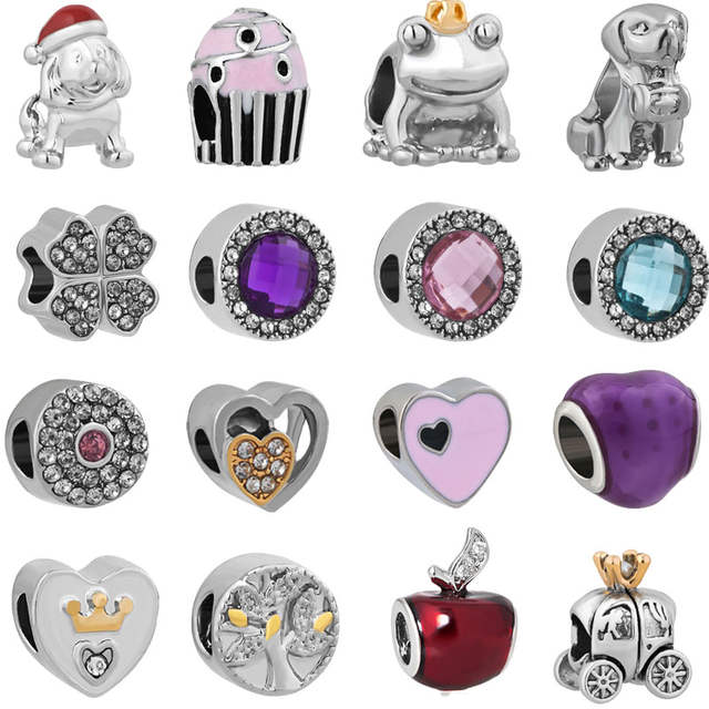 4596501cbe5f free shipping 1pc christmas gift silver mickey and minnie big hole bead hanging  charm fit pandora