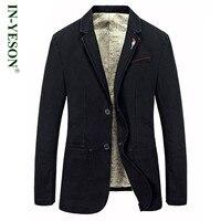 Plus size S-4XL Spring Autumn jacket mens leisure blazers brand IN-YESON man blazer casual suit jacket denim blaser masculino