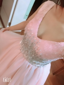 Image 5 - Short Prom Dresses Walk Beside You Ball Gown Pink Gray Sequined V neck Elegant Evening Formal Party Gown vestido formatura curto