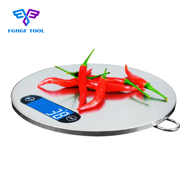 FGHGF 5kg/1g LCD Backlight Digital Kitchen Scale Stainless Steel Platform Weighing Device Electric Food Scale G/LB/OZ/ml Practic