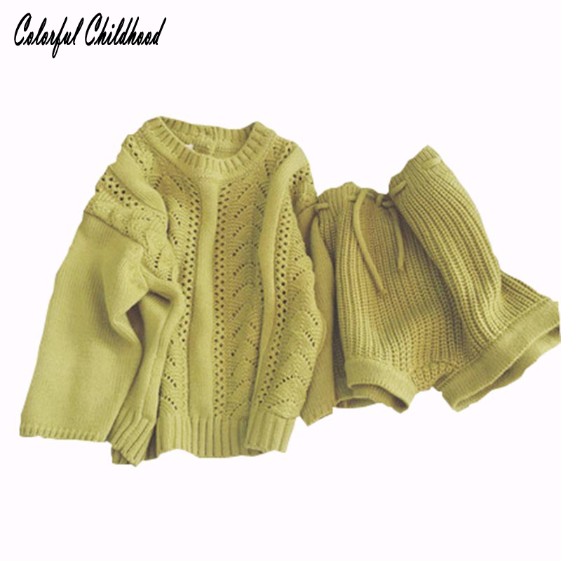 Adorable baby boy/girls clothes autumn kids clothing sets cozy sweater tops +shorts 2pcs suits children clothes casual outfit spring kid boys girls print sweater with hat children casual clothing 2016 children s sets summer kids baby boy clothes 2987