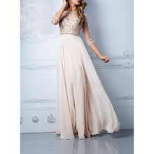 Real Photos Tulle And Chiffon Fabric Three Sleeve Beading Hand work Formal Evening Gowns Dresses OL102422