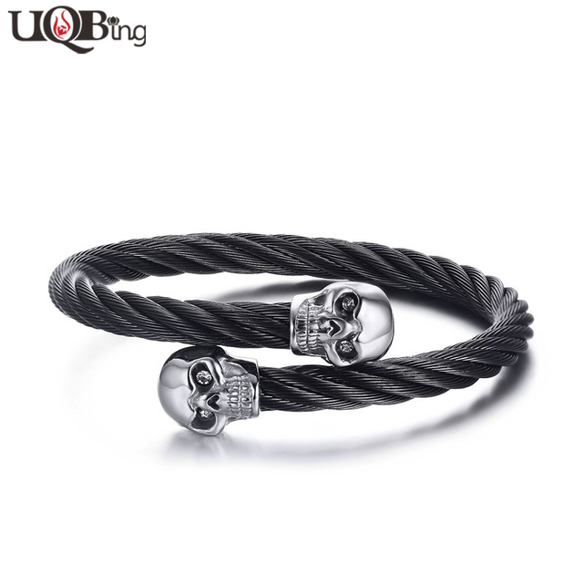 steel from bangles ltd black bracelet cable stainless