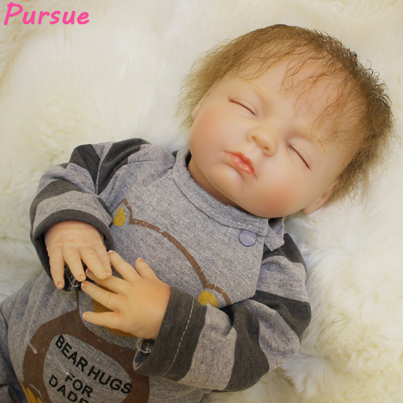 Pursue 18/46 cm Close Eyes Real Touch Reborn Babies Doll Soft Silicone Newborn Baby Boy Girl Doll House Play Toys Birthday Gift 52cm reborn babies blue eyes magnetic mouth soft touch silicone doll reborn boy girls toys bear plush doll bebe gift reborn