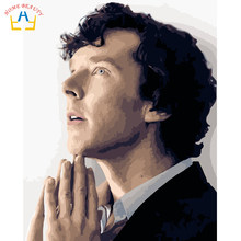 Sherlock Holmes pictures for drawing by numbers on canvas wall art painting for the kitchen home decor prints and posters WM050(China)