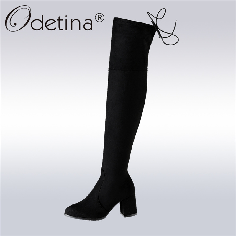 Odetina 2017 New Fashion Women Faux Sude Thigh High Boots Side Zipper Square High Heel Over The Knee Boots Lace Up Big Size 48 women ultrathin lace top sheer thigh high silk stockings fashion style new gh