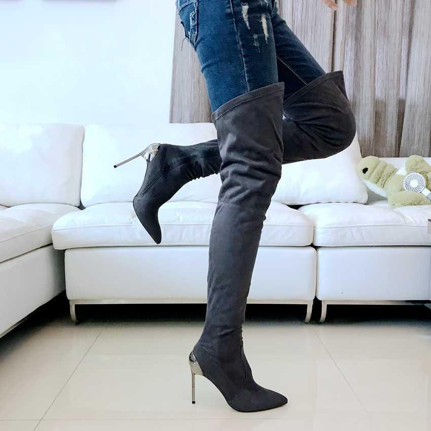 11 cm High Heels Stiefel Frauen Über Das Knie Stiefel Damen Faux Wildleder Leder Botas Herbst Winter Stiefel Stretch Oberschenkel stiefel Frau