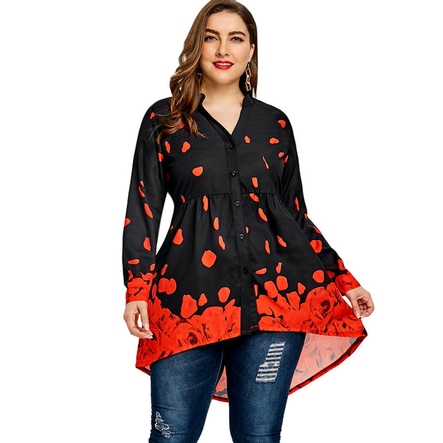 660a4ef65690b Gamiss Women Plus Size 5XL Floral Rose Printed Loose Tunic Tops 2018 Summer Long  Sleeve Button Up Long Blouses Shirts Blusas