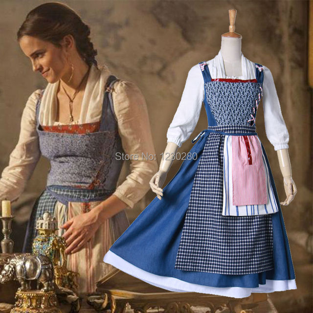 2f876ab41b02f 2017 Movie Beauty and the Beast Cosplay Princess Belle Blue Fancy Outfit  Carnival Summer Dress