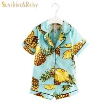 Pyjama filles garçons d'ensembles d'habillement de dessin animé fruits apple ananas imprimé coton d'été enfants pyjamas ensembles pour enfants occasionnels