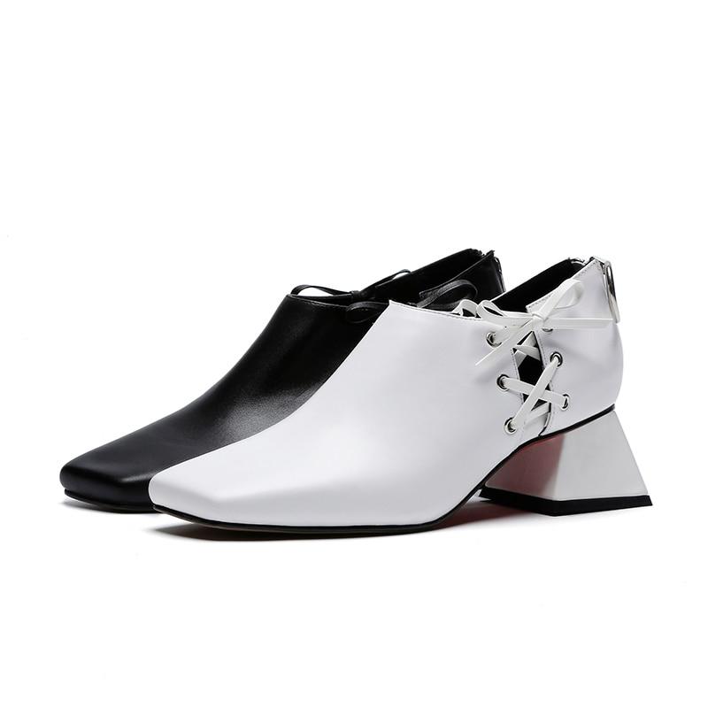 Véritable Inhabituel blanc 2019 Chaussures Bout Zip Dames Cuir Noir Croix Nouveau Wetkiss Talon Printemps Liée En Femmes Pompes Carré Femme 7H7wdF