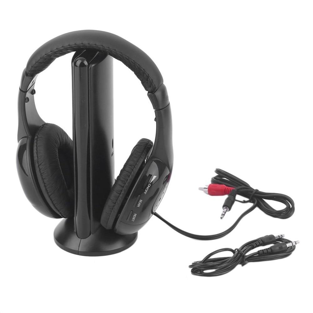 High Sensitivity 5 in 1 Hi-Fi Wireless Headphone Earphone Headset Wireless Monitor FM Radio MP3 PC TV Audio Phones 5 in 1 wireless stereo headset headphone transmitter fm radio for tv dvd mp3 pc l060 new hot