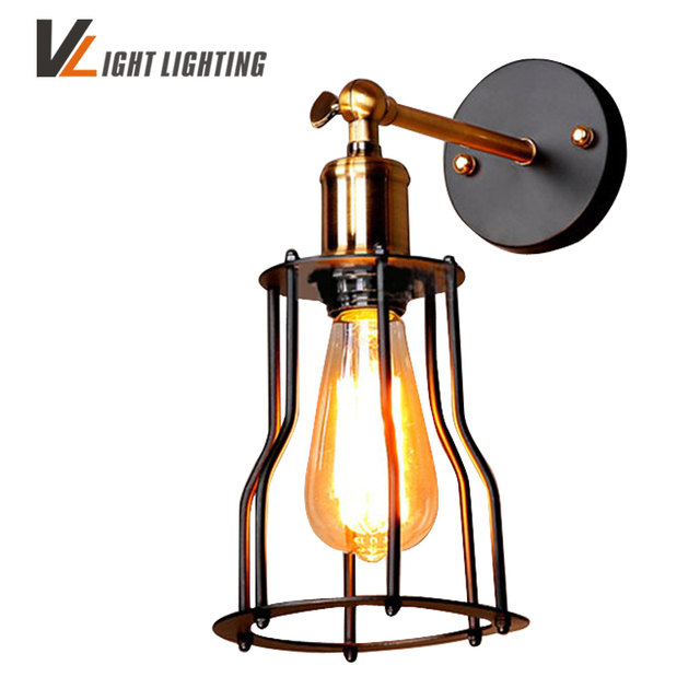 Free Shipping Vintage Lighting Wall Lights Country Small Black Metal Lamps Edison Fixtures