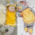 Zebra listrada terno do lazer do bebê recém-nascido crianças infantis do bebê meninas roupas com capuz t-shirt top + calças 2 pcs set roupa das meninas dress