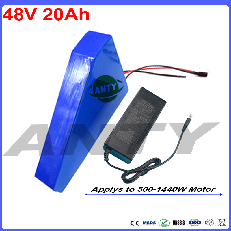 Lithium Battery 48V 20Ah with Bag Triangle Shape Built-in 30A BMS 54.6v 2A Charger Electric Bicycle Battery 48v Free Shipping battery 48v 14 5ah 1000w for panasonic cell lithium battery 48v with 2a charger built in 30a bms ebike battery 48v free shipping