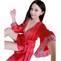 Новое прибытие 2016 летний стиль шелковый атлас халат набор для женщин бесплатная доставка Середина рукав халат + ночной рубашке из двух частей пижамы