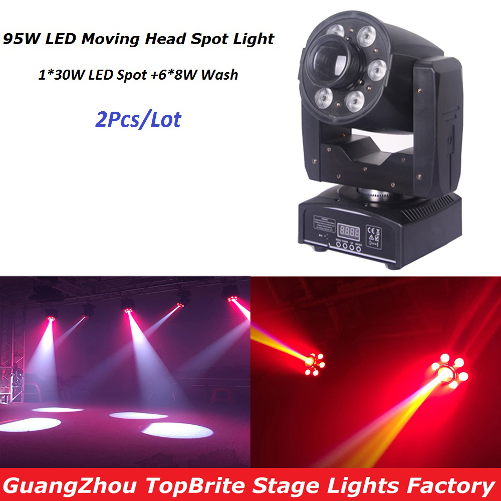 2XLot Led Moving Head Light 30W LED Spot + 48W Wash Stage Light DJ Disco Party Lights with 7 Colors 7 Gobos Lasers Free Shipping