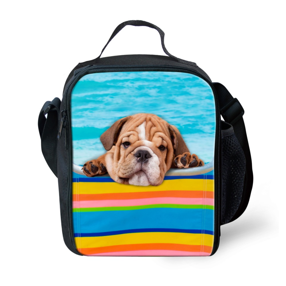 WHOSEPET Kids Portable Lunch Bags Spring Tour Food Picnic Bags 3D Cute Dogs Cats Printing for Boys Students Cooler Bags Tote