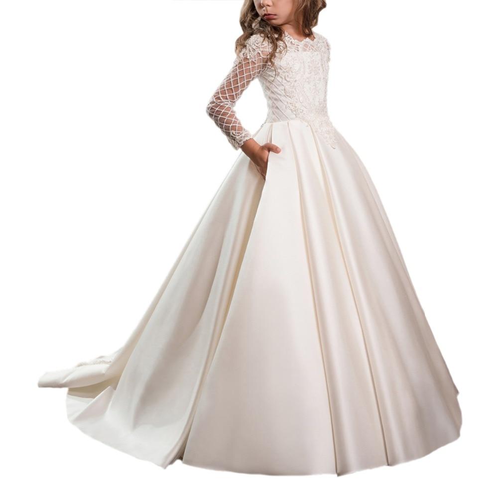 long sleeve first communion dress for girls 2-12 years girls dresses kids gown vestidos longo lace flower girls dresses 2018