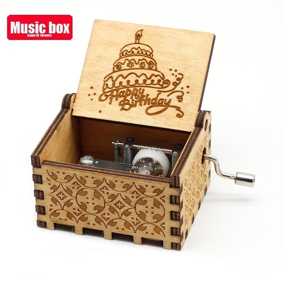 Горячая античная резная деревянная рукоятка Симпсоны игра трон музыкальная шкатулка подарок на день рождения Шкатулка анонимичность украшения Звездные войны