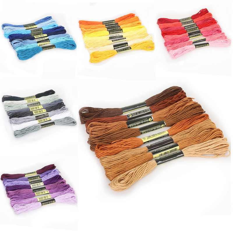 8pcs/Set Similar DMC Threads Cross Stitch Floss Cotton 8 meters Embroidery Thread Floss Sewing Skeins Craft Knitting 5
