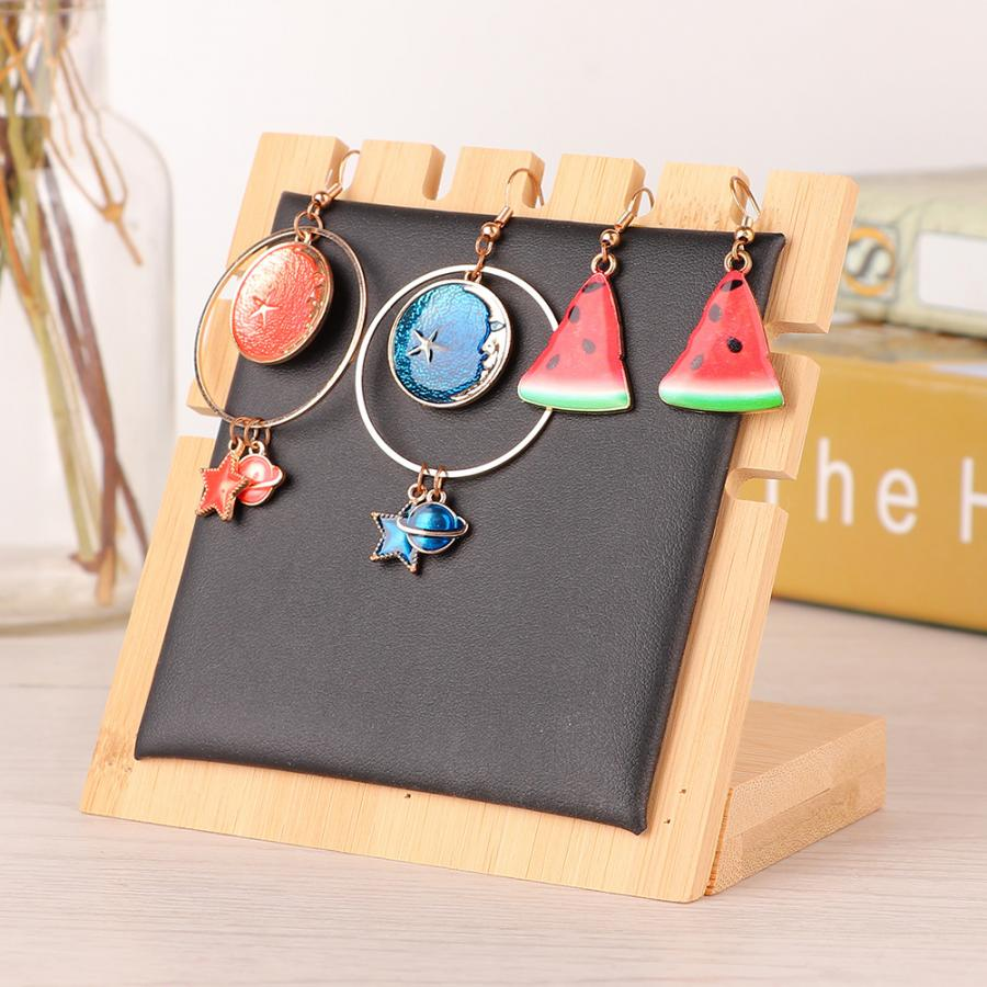 5 Slots Simple Wooden Necklace Earrings Jewelry Display Board Stand Rack Storage Desk Decor Ornament Jewelry Organizer Holder
