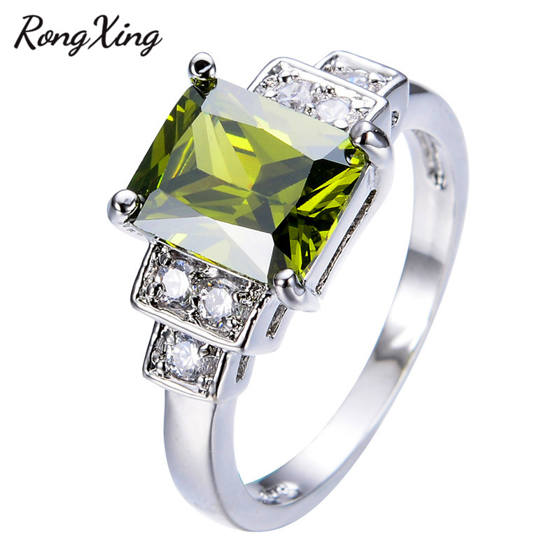 RongXing New Vintage Jewelry Noble Peridot White Zircon Wedding Ring For WomenMen Gold Filled
