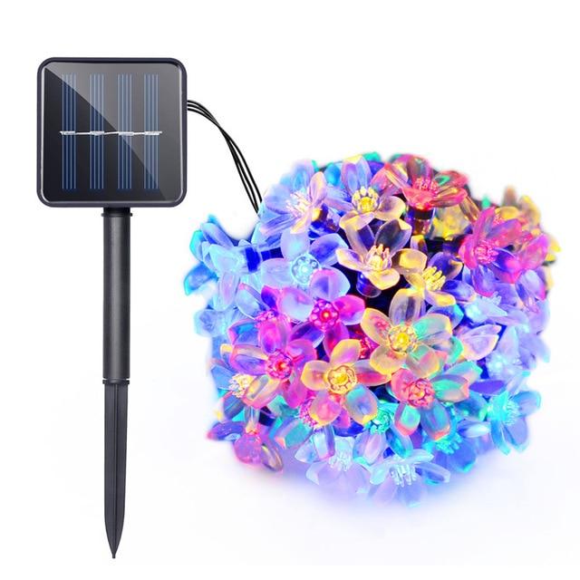 7M 50 LEDS Peach Sakura Flower Solar Waterproof Lamp Power RGB LED String Fairy Lights Garden Christmas Holiday Outdoor Decor