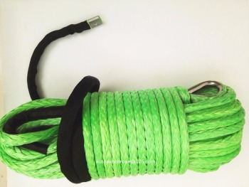 Green 12mm*45m Synthetic Winch Rope with Thimble and Sheath,ATV Winch Cable,Winch Rope 12mm,Plasma Rope
