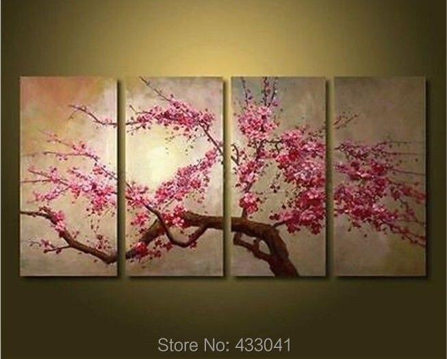 hand geschilderd seizoen kleurrijke abstracte boom schilderen kunst aan de muur canvas foto 4 stuks home decor moderne woonkamer set geen frame