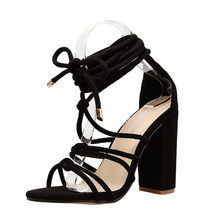 a5ad5aaf4fb2d4 New Style Women Roman Strap Sandals Shoes Ladies Sexy Solid High Heels summer  Shoes Pointed Toe