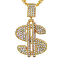 Large dollar sign necklace full crystal inlaid symbol style hip hop necklace for friend birthday gifts