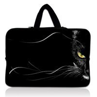 17 17 3 Inch Black Cat Face Soft Neoprene Laptop Netbook Sleeve Bag Case Pouch Hide