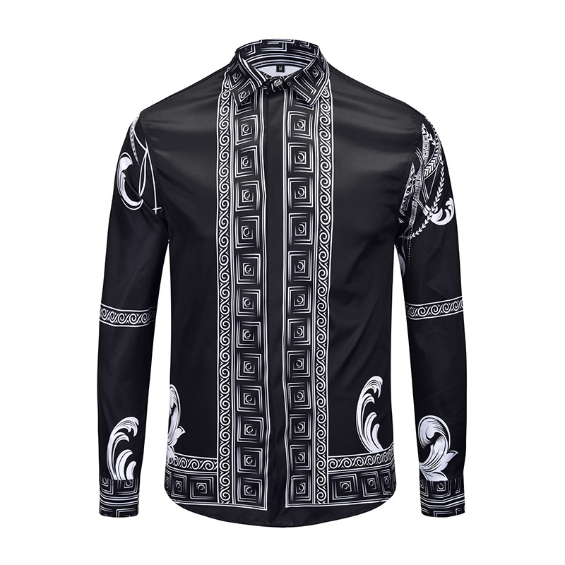 Mens Fancy Shirts Men Long Sleeve Male Luxury Animal Print Dress Shirt Vintage Palace Baroque Camisa Slim Fit Masculina For Men