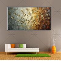 Top Artist Handpainted Wall Art Flower Picture Abstract Style Handmade Modern Gold Leave Oil Painting Home Decor for Living Room