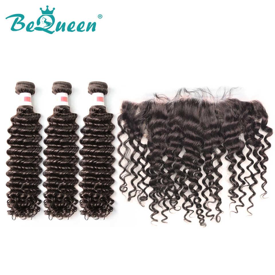 Bequeen Malaysian Raw Virgin Deep Wave Hair3 paquetes y 13x4 Color Frontal de la naturaleza extensiones de cabello humano 100%