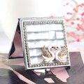 2 стороны, мини красота макияж компактное карманное зеркало, свадьба невесты друг подарок настоящее, кошачий глаз камень пара любовь лебедь