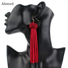 Ahmed Colorful Woven Ball Statement Tassel Long Earring for Women Fashion Fringed 2018 Dangle jewelry Brincos Bijoux Hot(China)