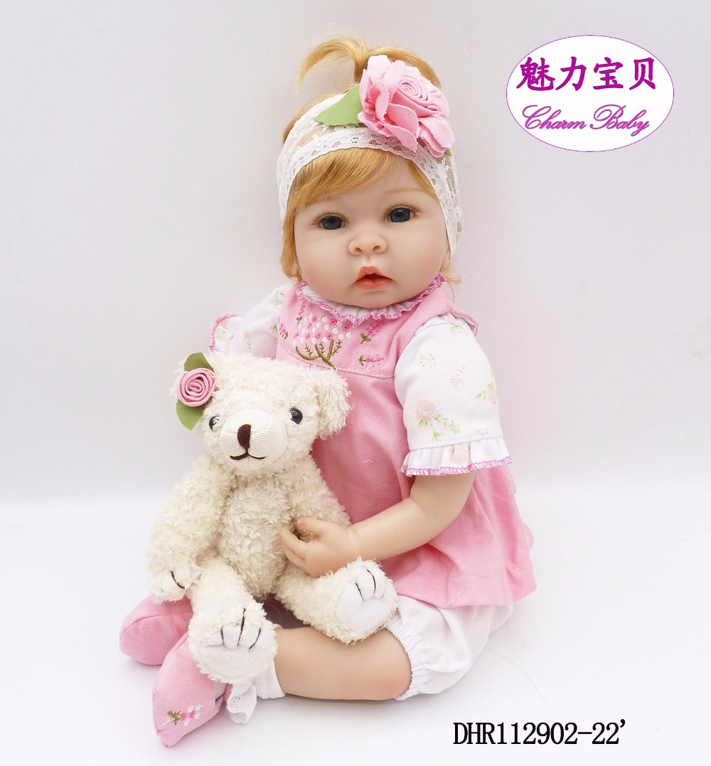 22 inch rebirth doll 55cm soft silicone vinyl blonde love doll princess reborn bone doll kid partner bear bear doll gift 22 58cm rebirth doll soft silicone eva matryoshka doll princess reborn domino dress blond kid christmas gift