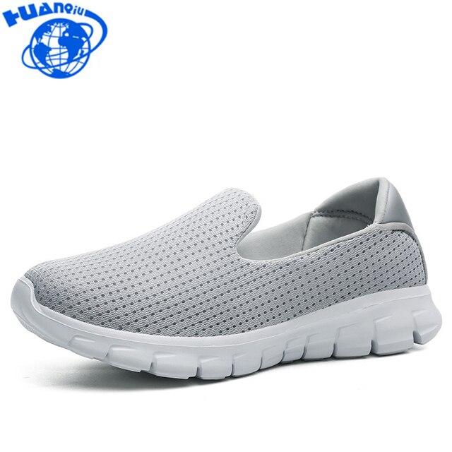 HUANQIU 2018 Novos Sapatos Fundo Macio Mulheres Tênis Luz Respirável  sapatos de Caminhada Sapatos Casuais Para dd1b06fb86036