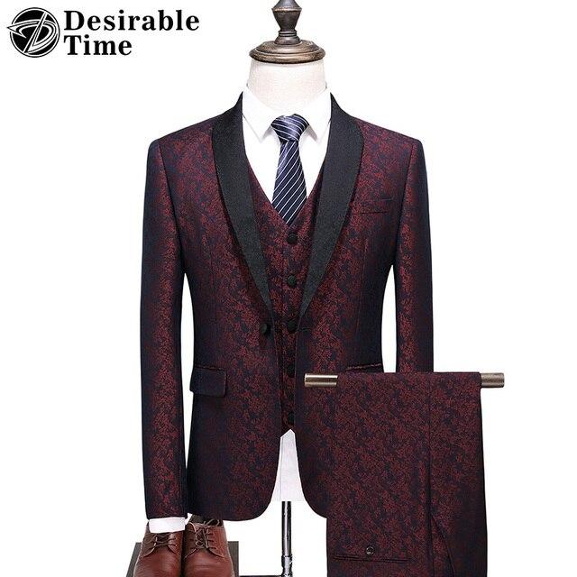 Hombres traje novio Slim Fit nueva moda Causal Floral trajes de gran tamaño  S-5XL 2ed8d3464ae