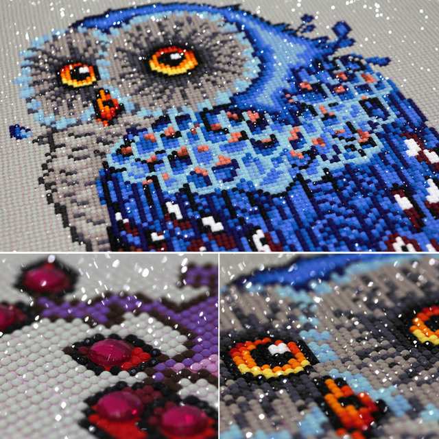 Meian,Full,Diamond Embroidery,Animal,Owl,5D,Diamond Painting,Cross Stitch,3D,Diamond Mosaic,Needlework,Crafts,Christmas,Gift