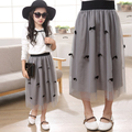 Girl summer lace skirt girl fashion skirt,girl skirts with butterfly gray color for 4~12 Y Kids