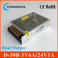 high quality dual Output Switching power supply 50W 5V 6A 24V 1A ac to dc power supply AC DC converter D 50B