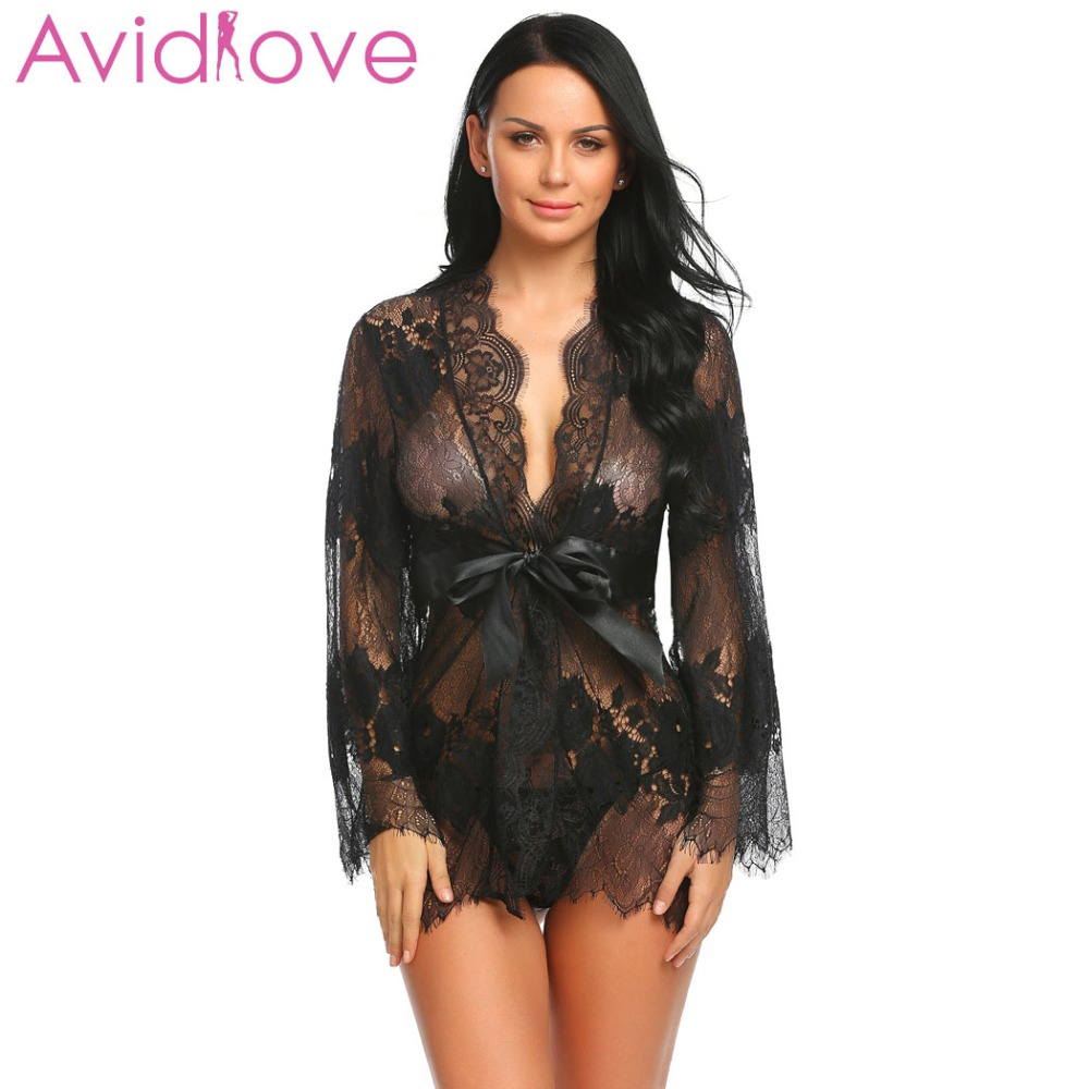 Avidlove Lingerie Sexy Hot Erotic Lace Robe Sleepwear Women Flare Belted  Lingerie Nightwear Sleeve Sexy Floral 2fdc88ad9